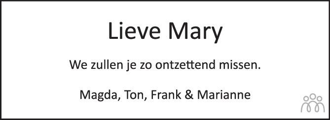 Overlijdensbericht van Mary Josephine Geldof-Troy in PZC Provinciale Zeeuwse Courant