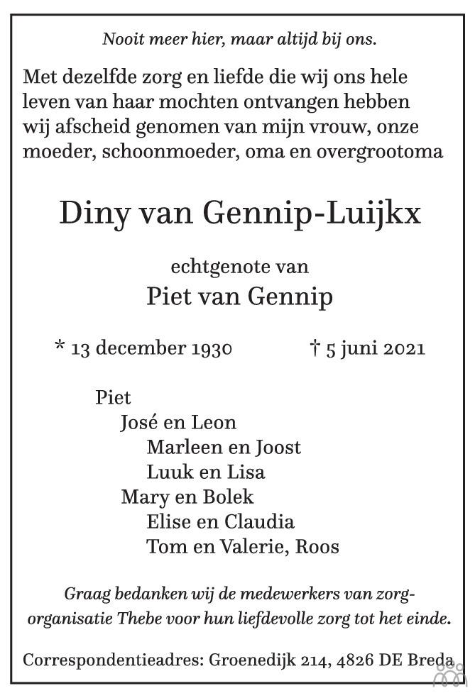 Overlijdensbericht van Diny van Gennip-Luijkx in BN DeStem