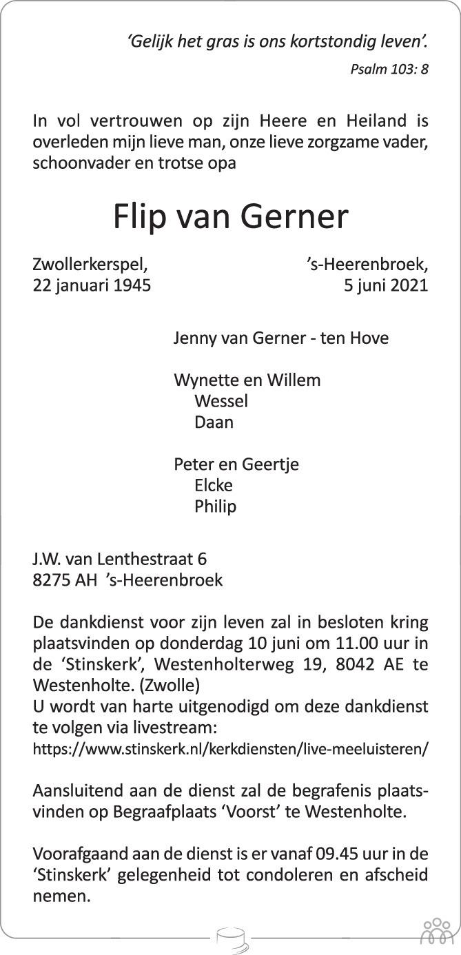 Overlijdensbericht van Flip van Gerner in de Stentor