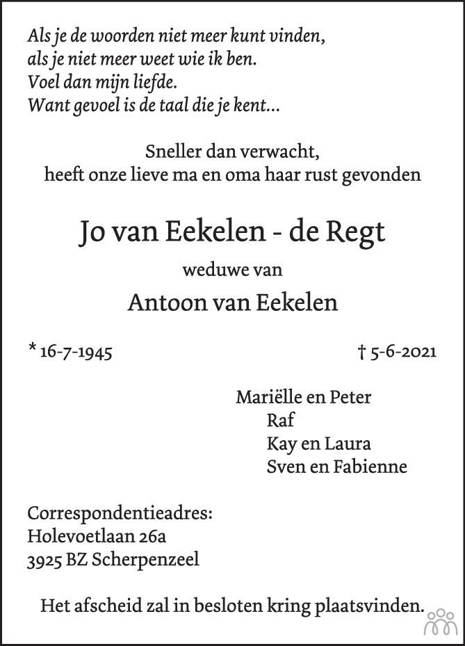 Overlijdensbericht van Jo van Eekelen-de Regt in BN DeStem