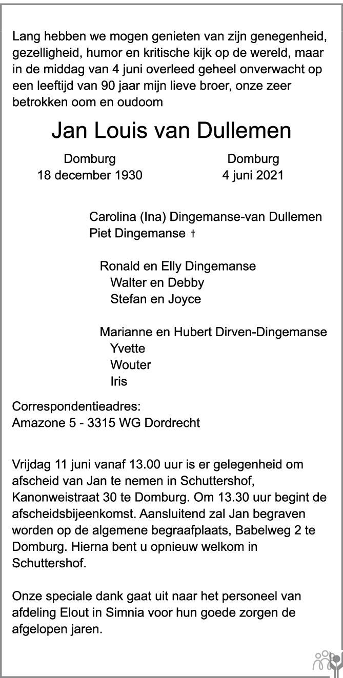 Overlijdensbericht van Jan Louis van Dullemen in PZC Provinciale Zeeuwse Courant