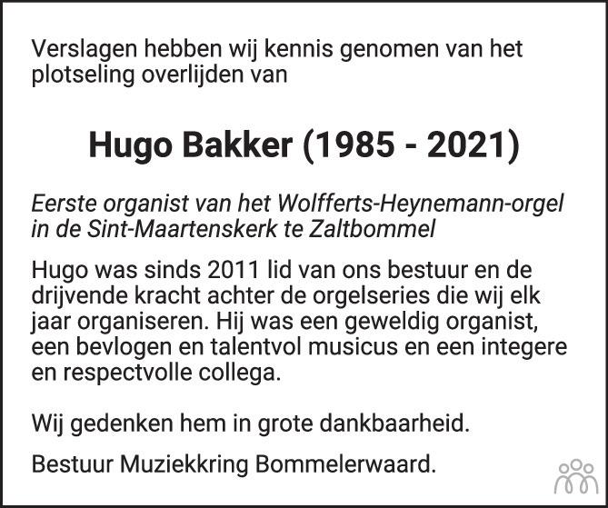 Overlijdensbericht van Hugo Bakker in De Toren / Carillon