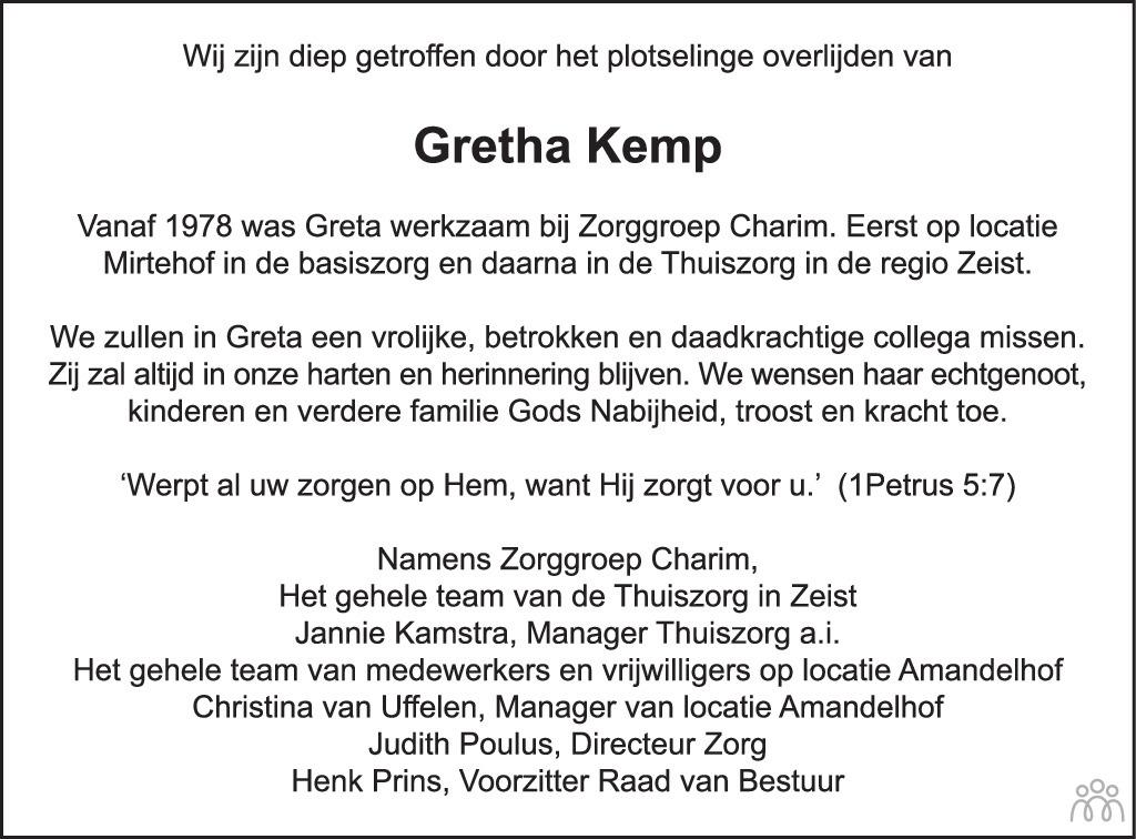 Overlijdensbericht van Gretha Kemp in De Nieuwsbode