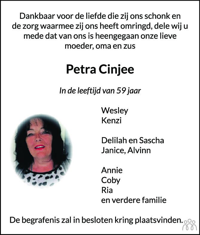 Overlijdensbericht van Petra Cinjee in Delftse Post