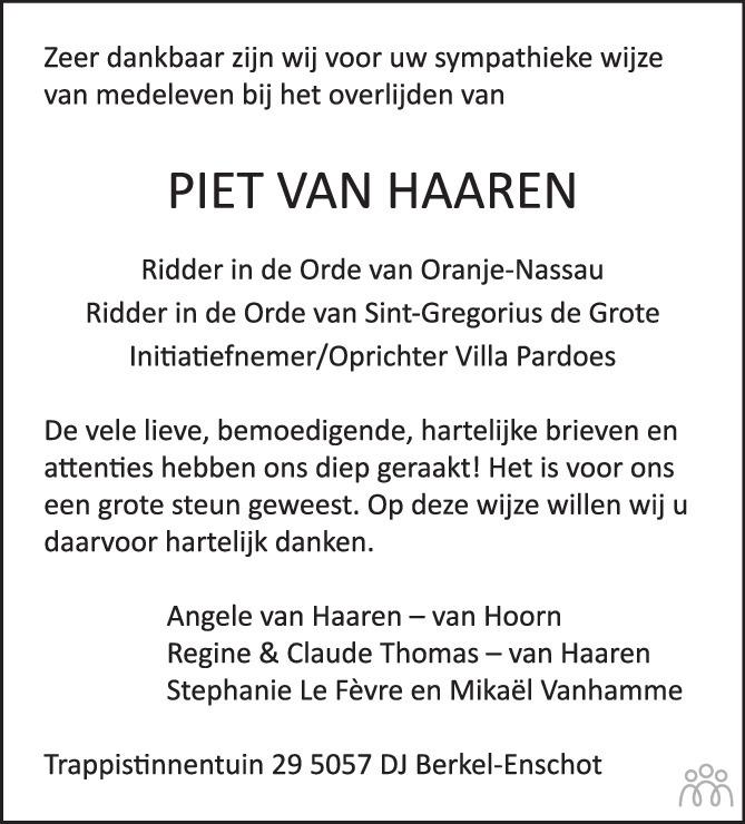 Overlijdensbericht van Piet van Haaren in BN DeStem