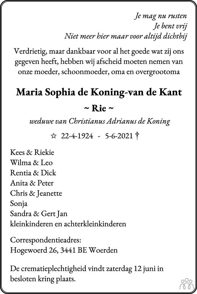 Overlijdensbericht van Maria Sophia (Rie) de Koning-van de Kant in Woerdense Courant