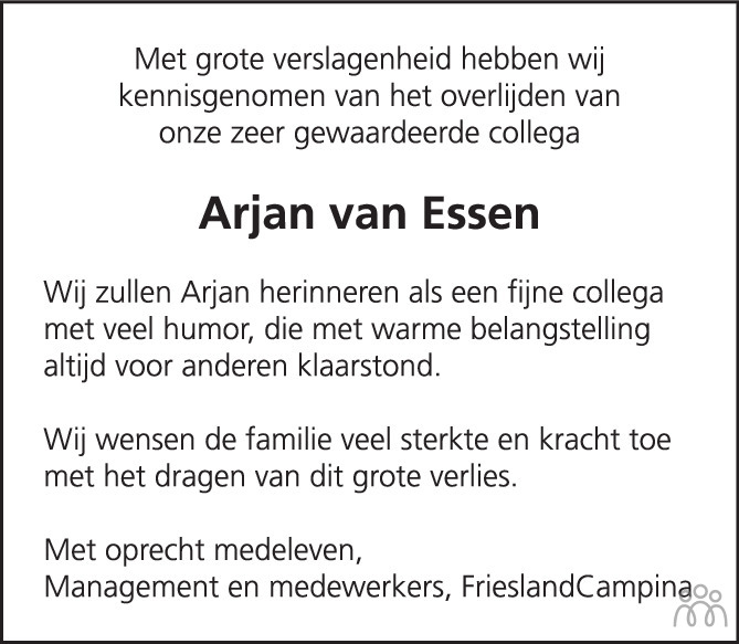 Overlijdensbericht van Arjan van Essen in Het Kompas woensdag