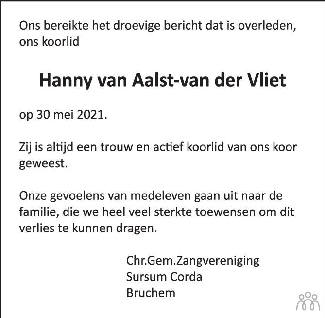 Overlijdensbericht van Hanny van Aalst-van der Vliet in De Toren / Carillon