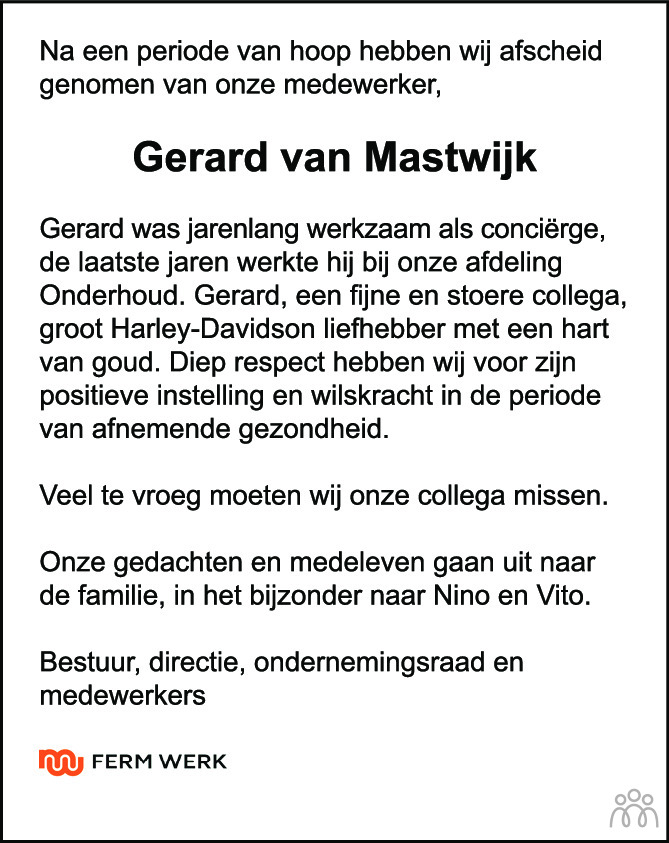 Overlijdensbericht van Gerard van Mastwijk in Woerdense Courant