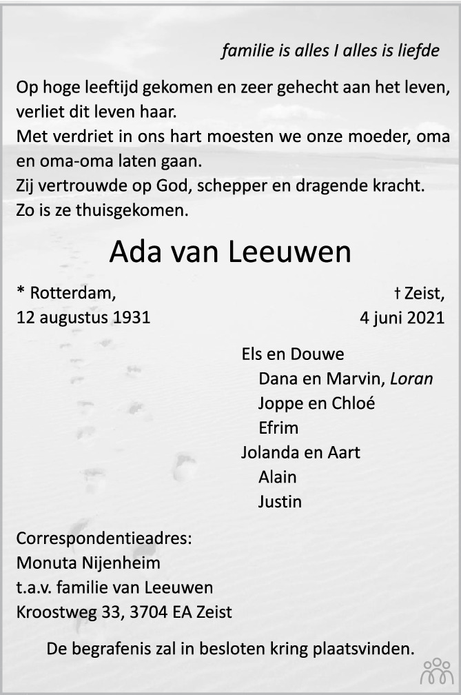 Overlijdensbericht van Ada van Leeuwen in De Nieuwsbode
