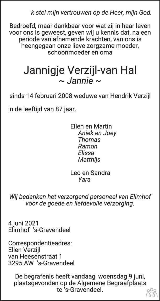 Overlijdensbericht van Jannigje (Jannie) Verzijl-van Hal in Het Kompas woensdag