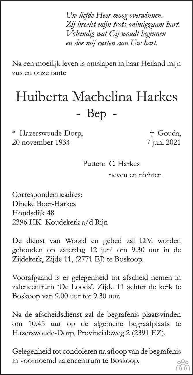 Overlijdensbericht van Huiberta Machelina (Bep) Harkes in Gouwe Koerier / Weekblad Waddinxveen