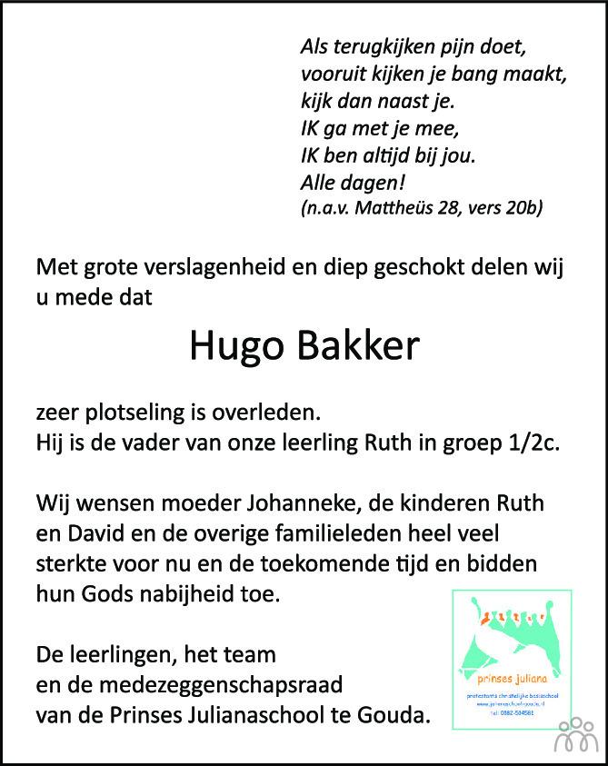 Overlijdensbericht van Hugo Bakker in Goudse Post