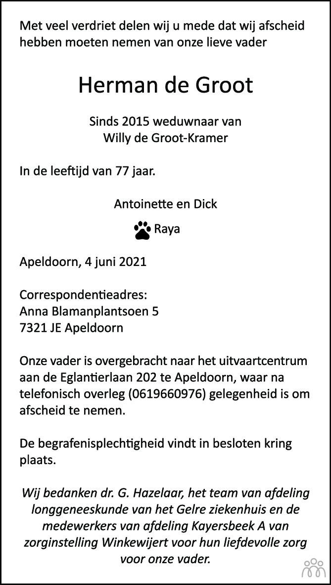 Overlijdensbericht van Herman de Groot in de Stentor