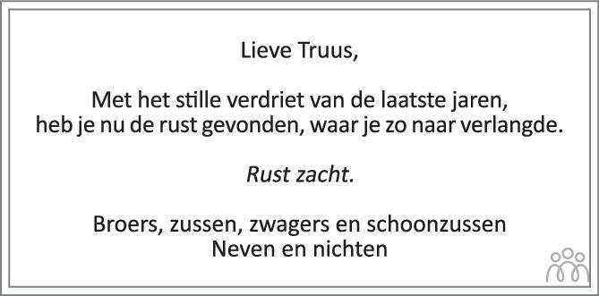 Overlijdensbericht van Truus (Geertruida Berendina Emanuella) Bouwman-Bauhuis in Tubantia
