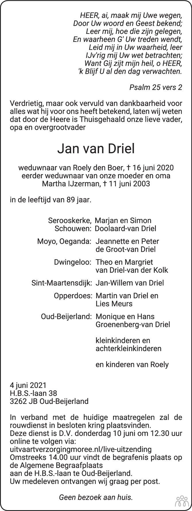 Overlijdensbericht van Jan van Driel in Het Kompas woensdag