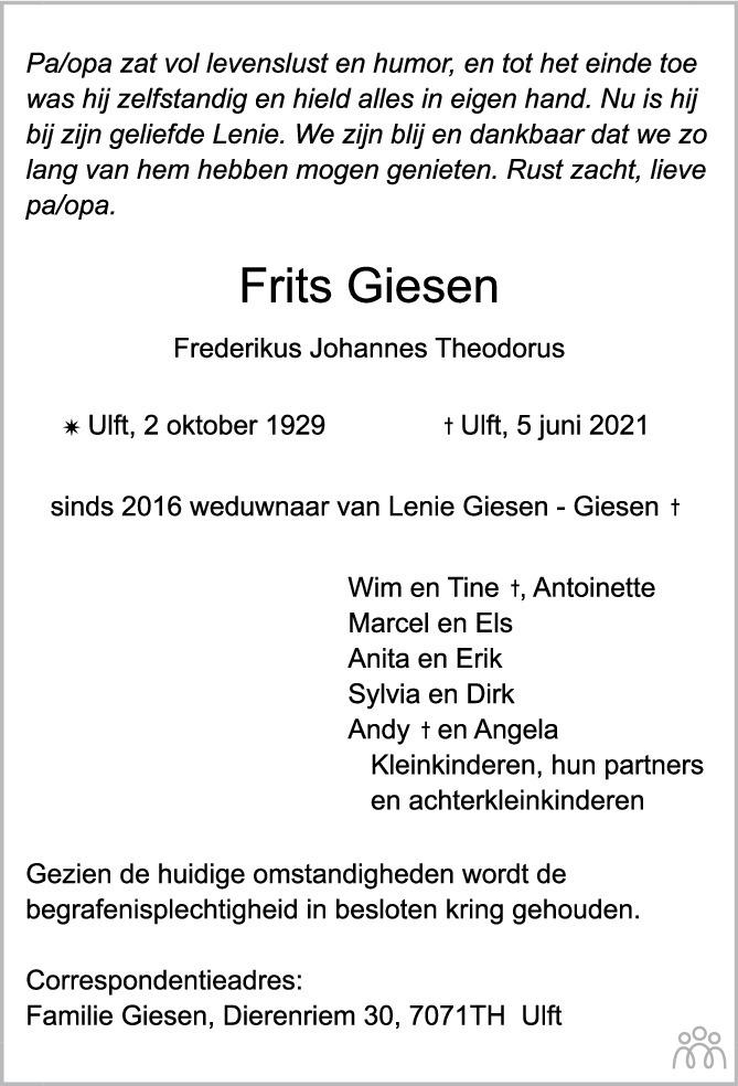 Overlijdensbericht van Frits (Frederikus Johannes Theodorus) Giesen in de Gelderlander