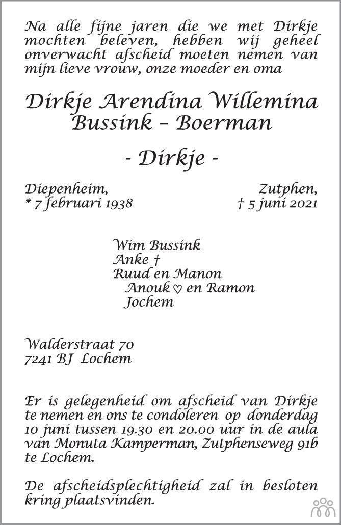 Overlijdensbericht van Dirkje Arendina Willemina (Dirkje) Bussink-Boerman in Tubantia