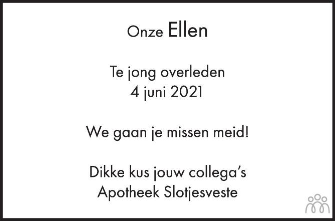 Overlijdensbericht van Ellen Dijkers in BN DeStem