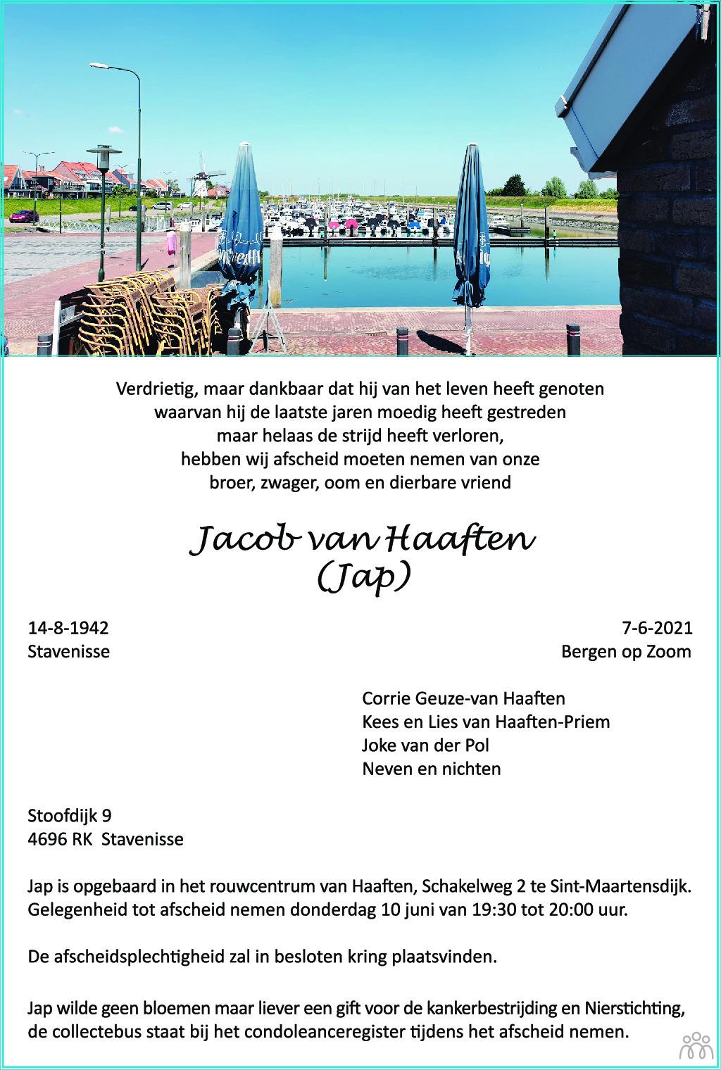 Overlijdensbericht van Jap (Jacob) van Haaften in BN DeStem