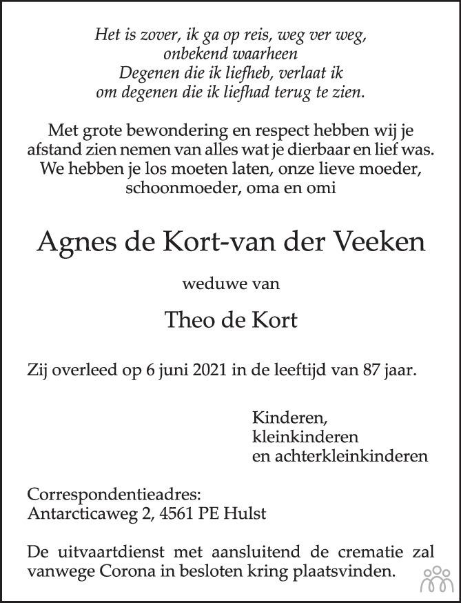 Overlijdensbericht van Agnes de Kort-van der Veeken in PZC Provinciale Zeeuwse Courant