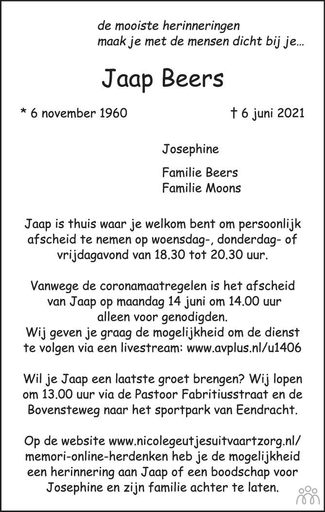 Overlijdensbericht van Jaap Beers in de Gelderlander