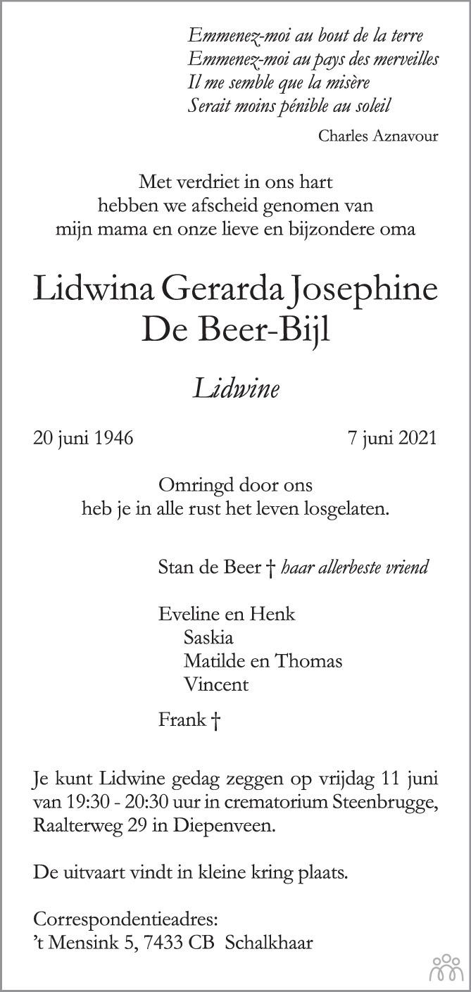 Overlijdensbericht van Lidwina Gerarda Josephine (Lidwine) de Beer-Bijl in de Stentor