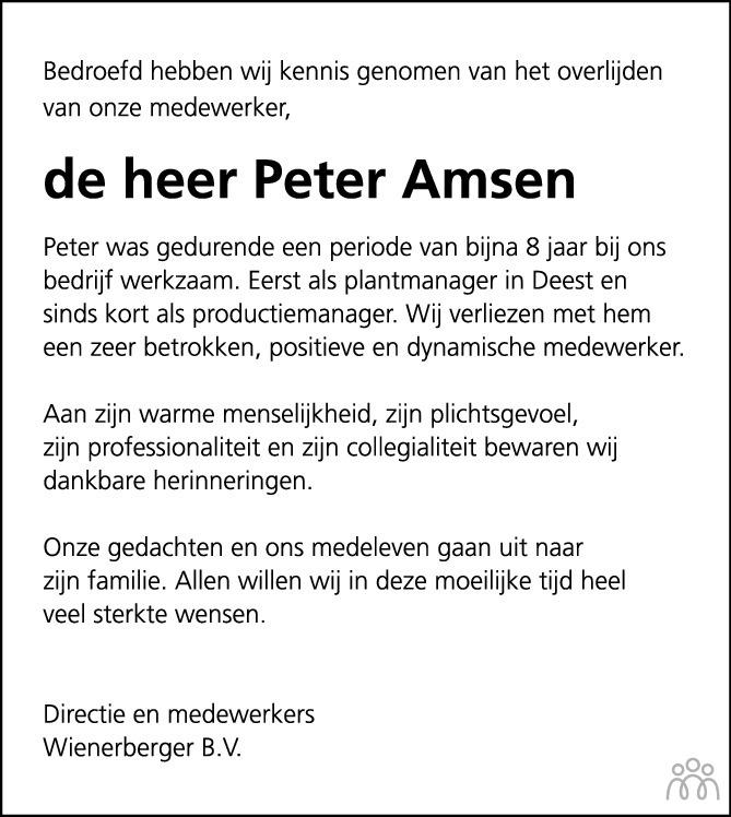 Overlijdensbericht van Peter Amsen in de Gelderlander