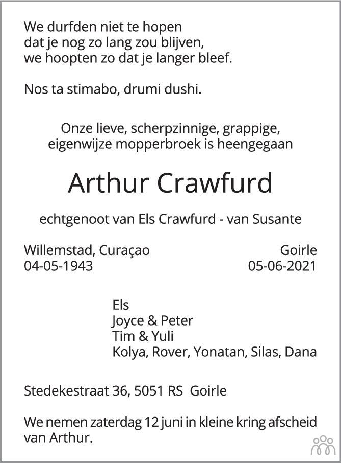 Overlijdensbericht van Arthur Crawfurd in Brabants Dagblad