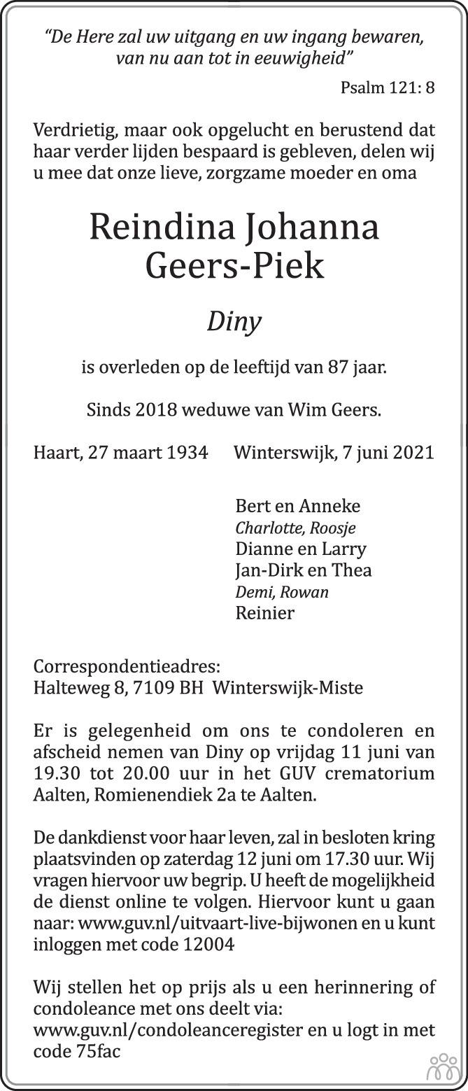 Overlijdensbericht van Reindina Johanna (Diny) Geers-Piek in de Gelderlander