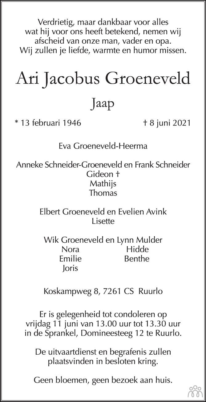 Overlijdensbericht van Ari Jacobus (Jaap) Groeneveld in de Stentor