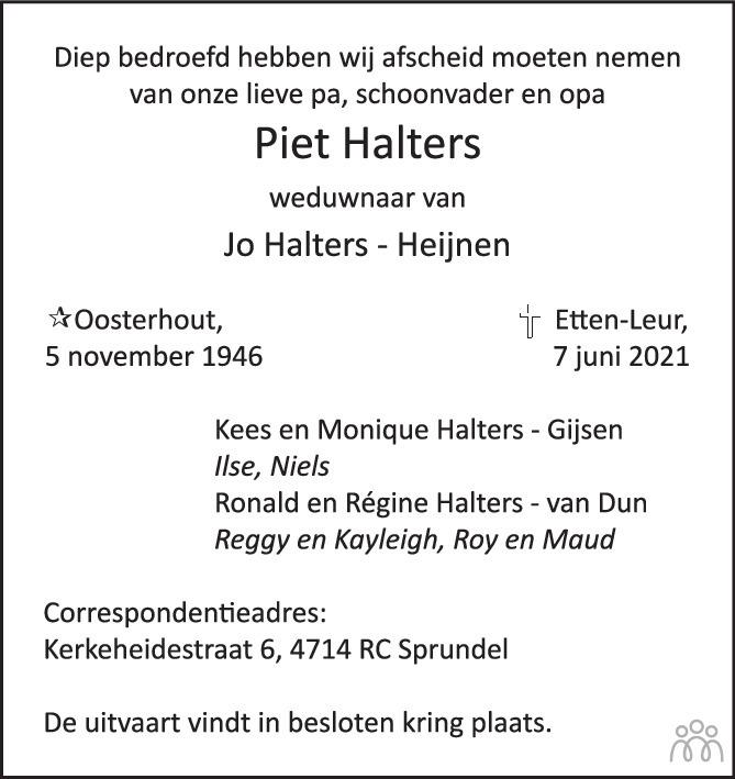 Overlijdensbericht van Piet Halters in BN DeStem