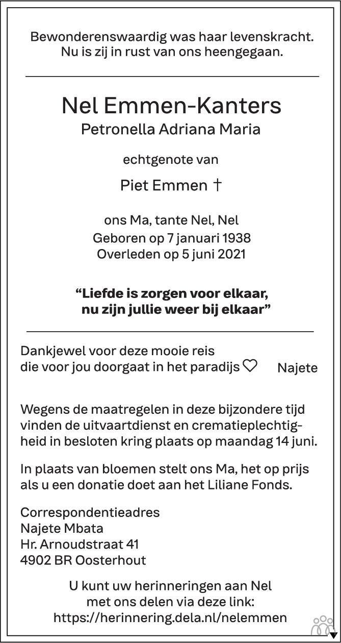 Overlijdensbericht van Nel (Petronella Adriana Maria) Emmen-Kanters in BN DeStem