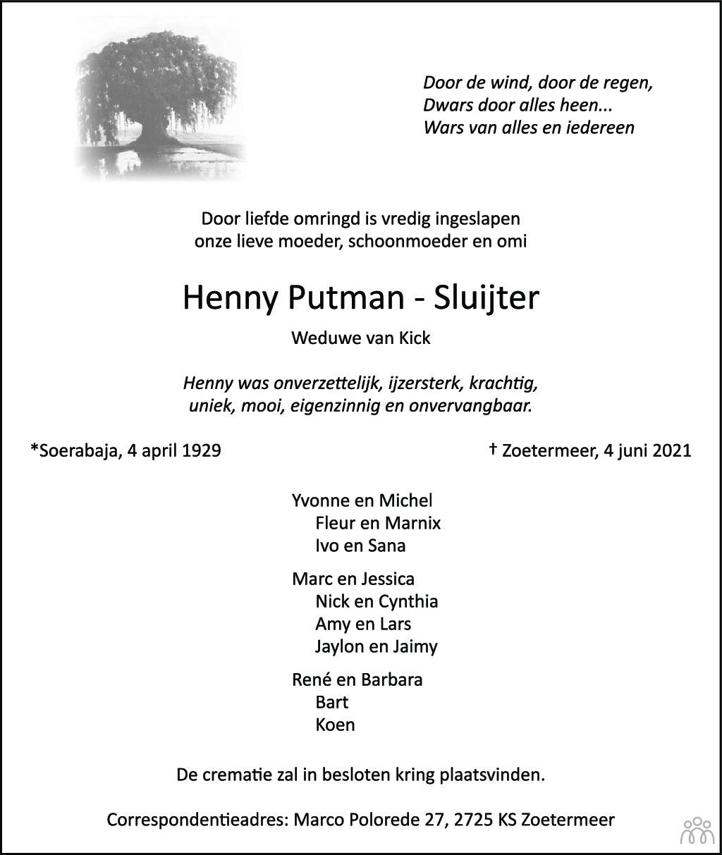 Overlijdensbericht van Henny Putman-Sluijter in Streekblad