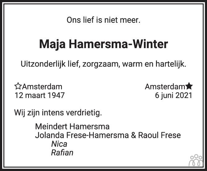 Overlijdensbericht van Maja Hamersma-Winter in Het Parool