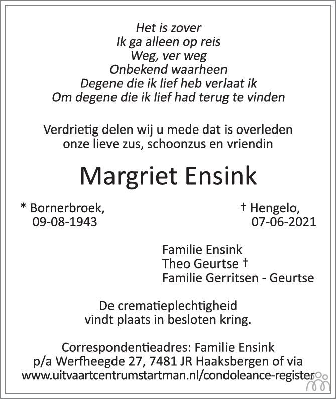 Overlijdensbericht van Margriet Ensink in Tubantia