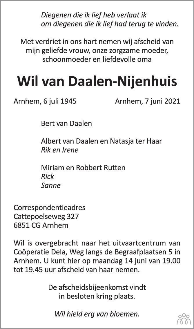 Overlijdensbericht van Wil van Daalen-Nijenhuis in de Gelderlander