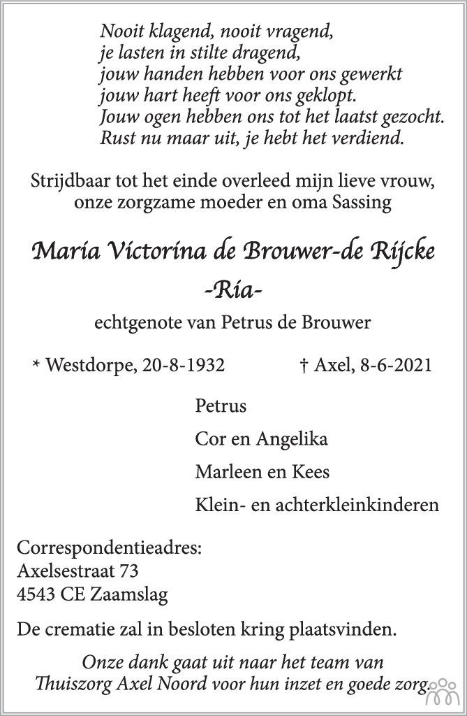Overlijdensbericht van María Victorina (Ria) de Brouwer-de Rijcke in PZC Provinciale Zeeuwse Courant