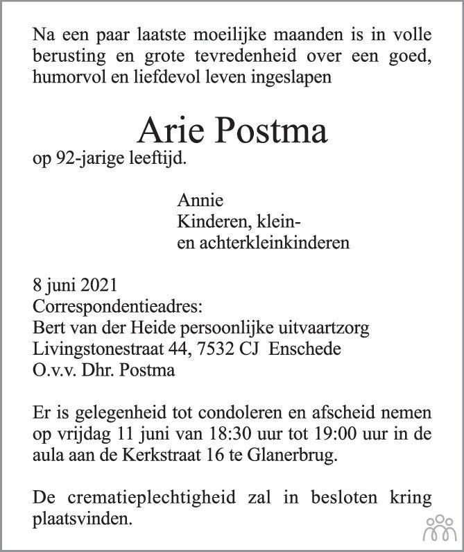 Overlijdensbericht van Arie Postma in Tubantia