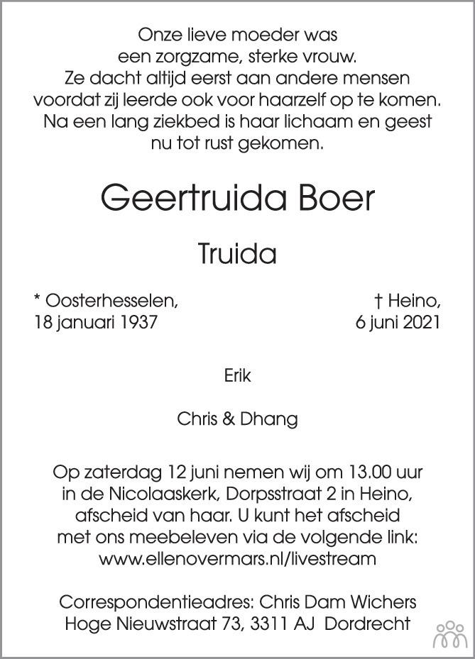 Overlijdensbericht van Geertruida (Truida) Boer in de Stentor