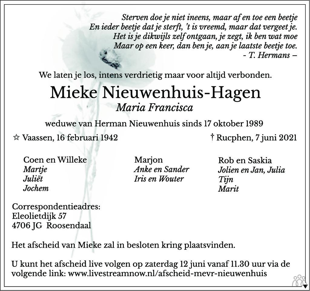 Overlijdensbericht van Mieke (Maria Francisca) Nieuwenhuis-Hagen in BN DeStem