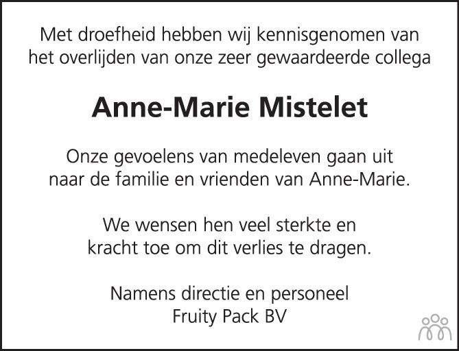 Overlijdensbericht van Anne-Marie Mistelet in Het Kompas vrijdag
