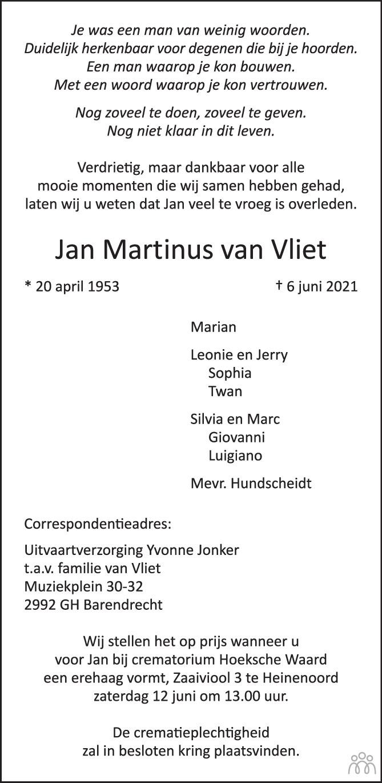 Overlijdensbericht van Jan Martinus van Vliet in Het Kompas vrijdag