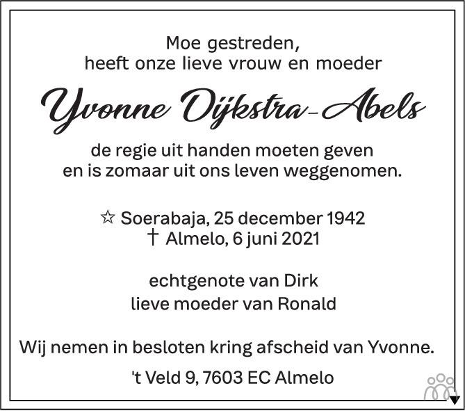 Overlijdensbericht van Yvonne Dijkstra-Abels in Tubantia