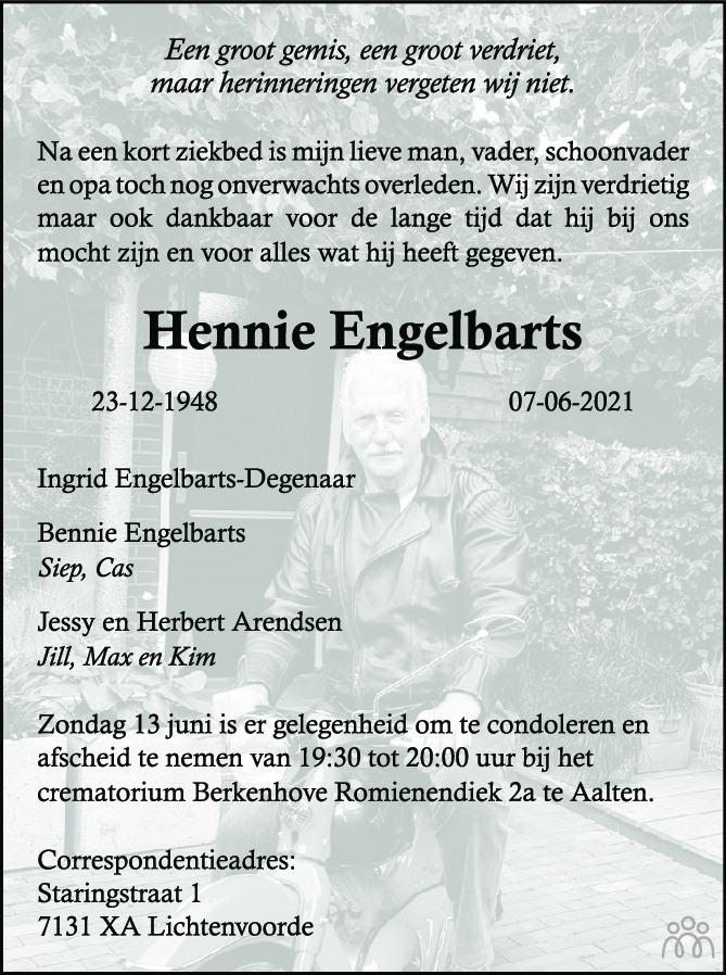 Overlijdensbericht van Hennie Engelbarts in de Gelderlander