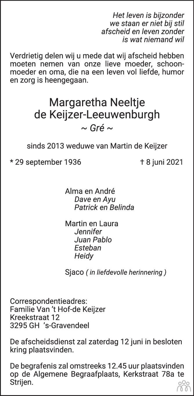 Overlijdensbericht van Margaretha Neeltje (Gré) de Keijzer-Leeuwenburgh in Het Kompas vrijdag