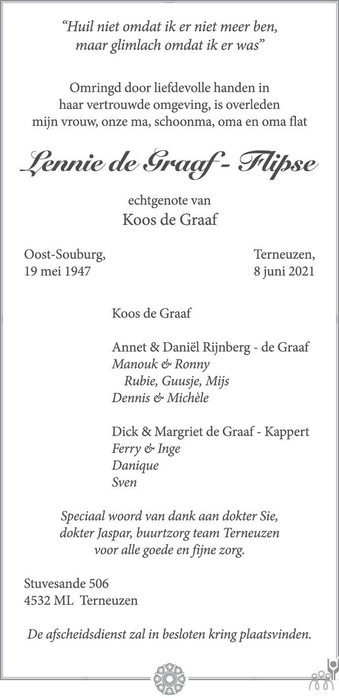 Overlijdensbericht van Lennie de Graaf-Flipse in PZC Provinciale Zeeuwse Courant