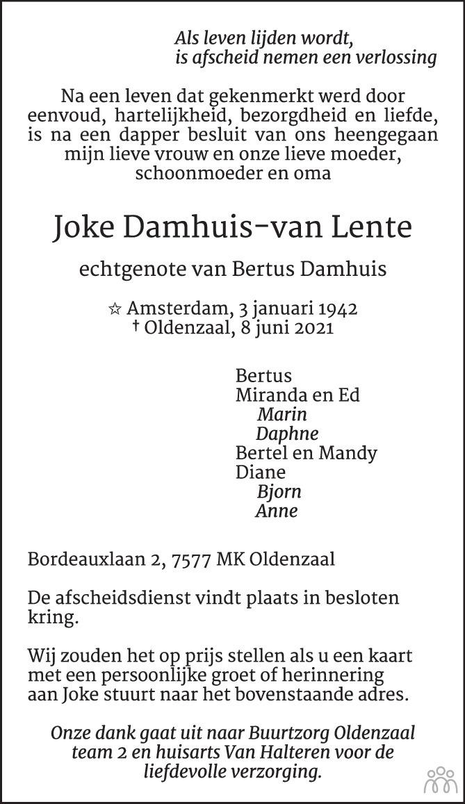 Overlijdensbericht van Joke Damhuis-van Lente in Tubantia