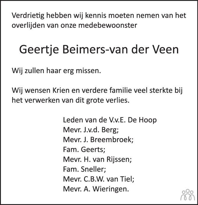 Overlijdensbericht van Geertje Beimers-van der Veen in de Stentor