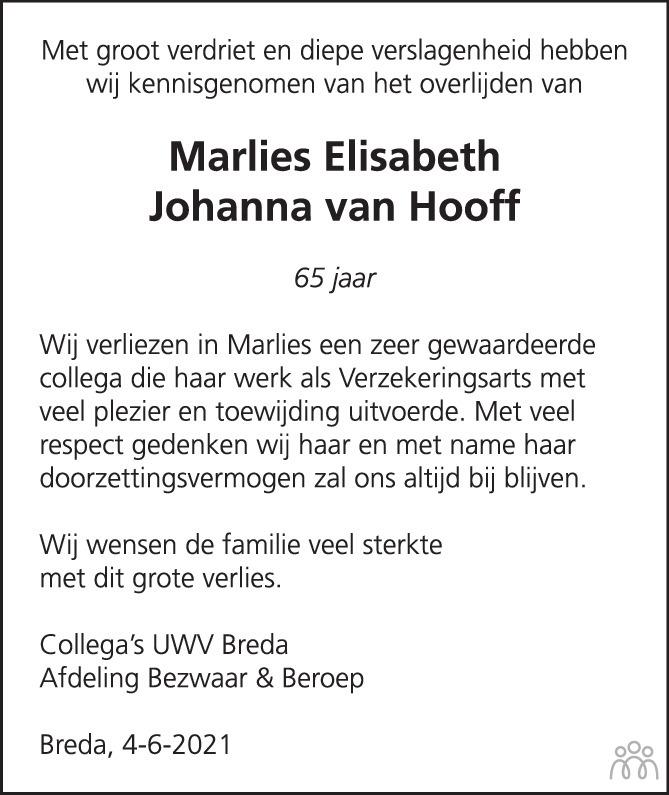 Overlijdensbericht van Marlies van Hooff in BN DeStem